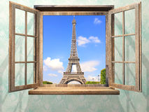 Opened wooden window and view on Eiffel tower, Paris Stock Image