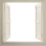 Opened wooden window. On white background Royalty Free Stock Images