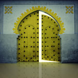 Opened yellow doorway in the grunge wall Stock Photos