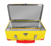Opened Yellow metal suitcase Royalty Free Stock Photography