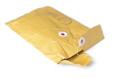 Opened yellow parcel Royalty Free Stock Photos