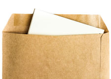 Opened yellow  Recycled craft  envelope with paper letter inside Royalty Free Stock Photography