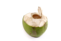Opened young coconut isolated Royalty Free Stock Photo