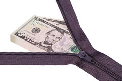 Opened zipper with pile money. Stock Photography