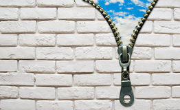 Opened zipper from wall to the sky business concept Royalty Free Stock Image