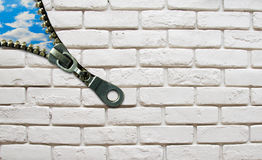 Opened zipper from wall to the sky business concept Royalty Free Stock Photo