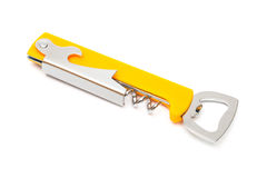 Opener. Modern metal opener on a white background royalty free stock image