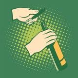 Opener bottles, hand holds corkscrew. vector illustration
