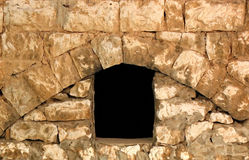 Opening. A window-like opening in a stone wall of an old contruction in a Lebanese northern village Stock Photography