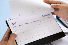 Opening 2009 calendar Royalty Free Stock Photo