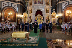 Opening of action Angel Wings in the Cathedral of Christ the Savior Stock Photo