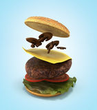Opening of the American hamburger 3d render on gradient. Of the American hamburger 3d render on gradient Royalty Free Stock Photo