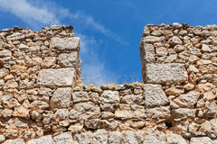 Opening in the ancient protective stone wall Stock Photo