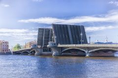 Opening of Annunciation drawbridge in St. Petersburg. Opening of Annunciation drawbridge in Saint Petersburg, Russia Royalty Free Stock Image