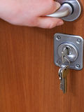 Opening apartment door and bunch of keys Stock Photography
