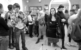 Opening of the art exhibition. 25 february 2011, Russia, Syktyvkar. Art exhibition of joung artists Synopsis. Such art forms as a photo, a drawing, painting Royalty Free Stock Photo
