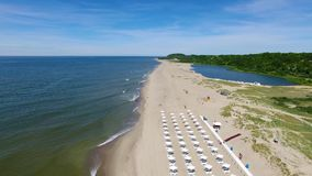 Opening of the beach season in Yantarny resort town stock video