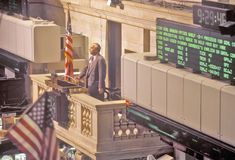 Opening bell on New York Stock Exchange, Wall Street, New York, NY Royalty Free Stock Photos