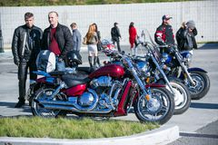 Opening of the biker season. May, 2013 - Vladivostok, Primorsky Krai - Opening of the biker season. Bikers from all over the Primorsky Territory gather on the royalty free stock image