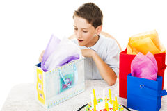 Opening Birthday Presents Royalty Free Stock Photos