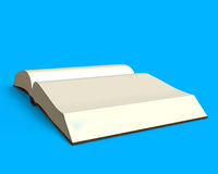 Opening book isolated in blue side view, 3D rendering. Opening book isolated in blue background, side view, 3D rendering Royalty Free Stock Image