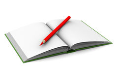 Opening book and pencil on white background Royalty Free Stock Photo