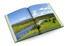 Opening book on white background. 3D image Stock Photos