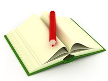Opening book on a white background. 3D image Royalty Free Stock Photos