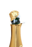 Opening a bottle of champagne. Opening a champagne bottle. All on white background Royalty Free Stock Photography