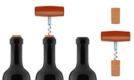 Opening a bottle of wine 3D Set. Wine bottle, cork, corkscrew with wooden handle Stock Images