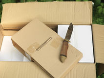 Opening Box With Knife Stock Photo