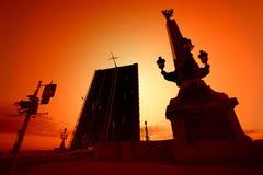Opening bridge across the Neva river in St. Petersburg Stock Image