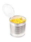 Opening  can with corn  isolated  on  the  white Stock Photo