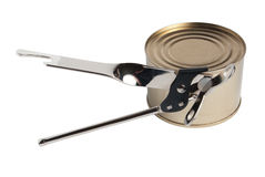 Opening of canned food by can-opener Stock Photography