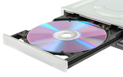 Opening cd-rom drive with disk Stock Images