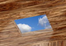 Opening in ceiling with sky Stock Photos