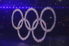 The Olympic Rings. The opening ceremonies of the 2008 Beijing Olympics is quite possibly the greatest opening ceremony of the modern era stock images