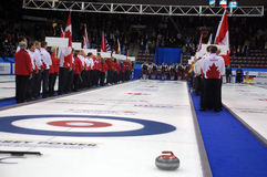 Opening Ceremonies Photos, World Cup of Curling. Curlers line up for the opening ceremonies held at The World Cup of Curling, held in Mississauga, Ontario Royalty Free Stock Image