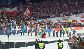 Opening ceremony. Of The World Cup Ski Jumping on Large Hill in Zakopane 2008 Royalty Free Stock Photos