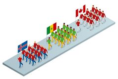 The opening ceremony concept. Carrying out the flag of Iceland, Cameroon and Canada, . International sports competitions. Vector isometric illustration Stock Photography