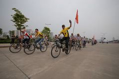 Bicycle race-extensive mass fitness programs. Opening ceremony of the first national fitness games in Jiangxi Province, April 30, 2008 in Nanchang Stock Images