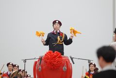 Beat gongs and sound drums-extensive mass fitness programs. Opening ceremony of the first national fitness games in Jiangxi Province, April 30, 2008 in Nanchang Stock Photography