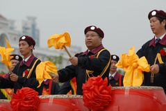 Beat gongs and sound drums-extensive mass fitness programs. Opening ceremony of the first national fitness games in Jiangxi Province, April 30, 2008 in Nanchang Royalty Free Stock Photography