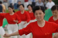 Fan Aerobics-extensive mass fitness programs. Opening ceremony of the first national fitness games in Jiangxi Province, April 30, 2008 in Nanchang Stock Images