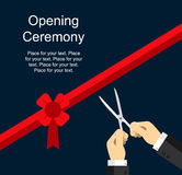 Opening ceremony flat design template for official events Royalty Free Stock Photos