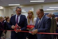 Opening ceremony of new academic building of Higher School of Economics. St. Petersburg, Russia - September 3, 2015: Vice-Governor of St. Petersburg Vladimir stock photos