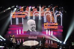 Opening ceremony of 40th Moscow International Film Festival. View of the stage, hosts - Igor Vernik and Anlaya Tarasova, actor Vladimir Mashkov makes a speech Royalty Free Stock Photography
