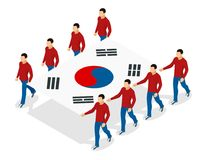 Opening ceremony at the Winter Sports Competitions concept. Carrying out the flag of South Korea. International sports. The opening ceremony concept. Carrying Stock Photography