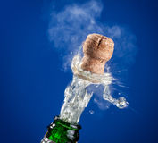 Opening of champagne bottle. Stock Photos