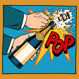 Opening Champagne Bottle Pop Art Retro Style Royalty Free Stock Images